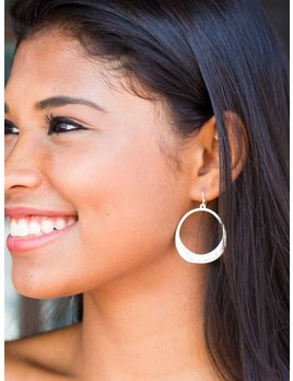 Cutout Metal Circle with Hammered Bottom Earrings