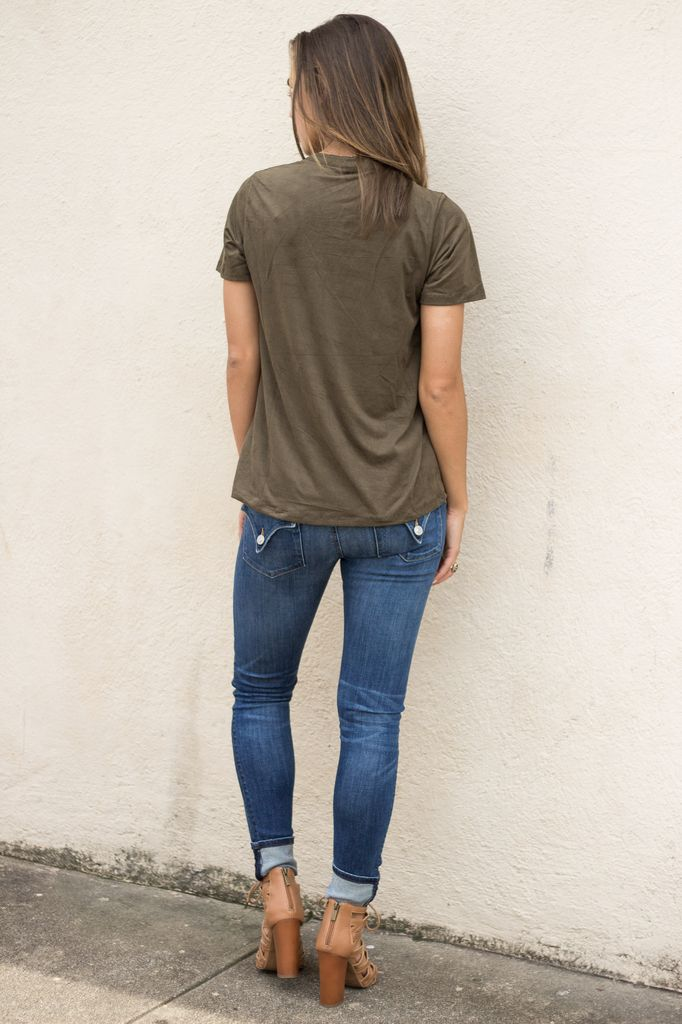 Z Supply Z Supply The Suede Lace-Up Tee
