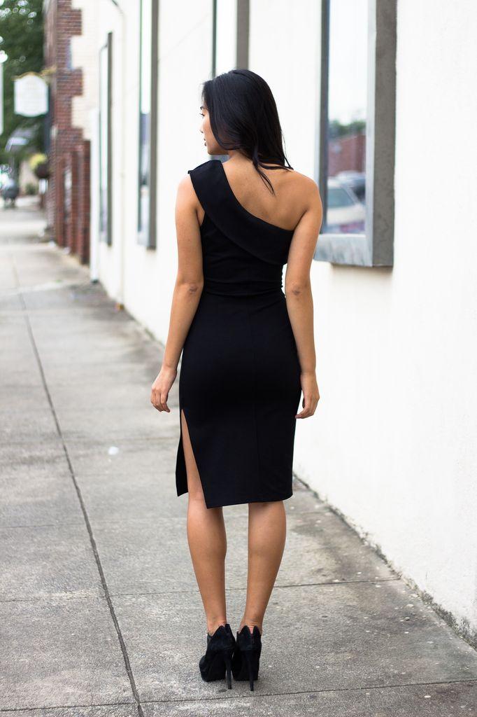 Karlie Solid Ponte Off Shoulder Column Dress