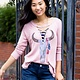 Vintage Havana Bull Skull Graphic Thermal Lace Up Top