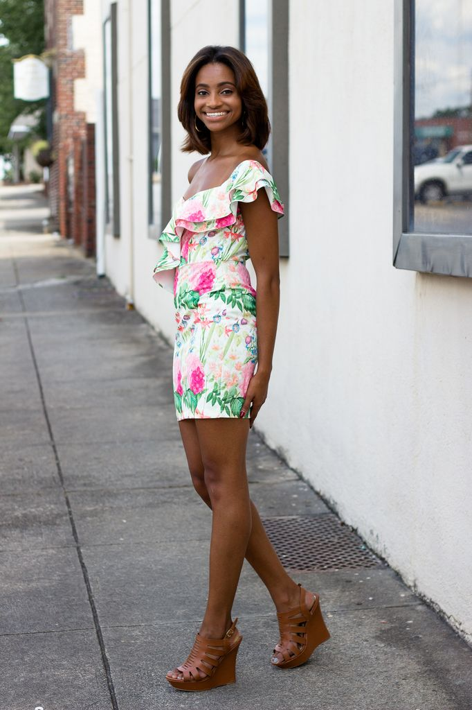 Karlie Floral Ruffle One Shoulder Dress