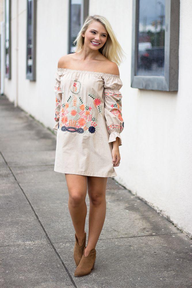 Karlie Embroidered Bustier Dress