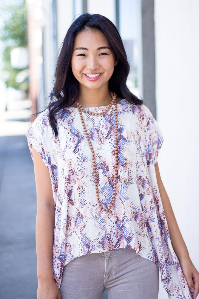 Karlie Snake Scoop Kimono Top