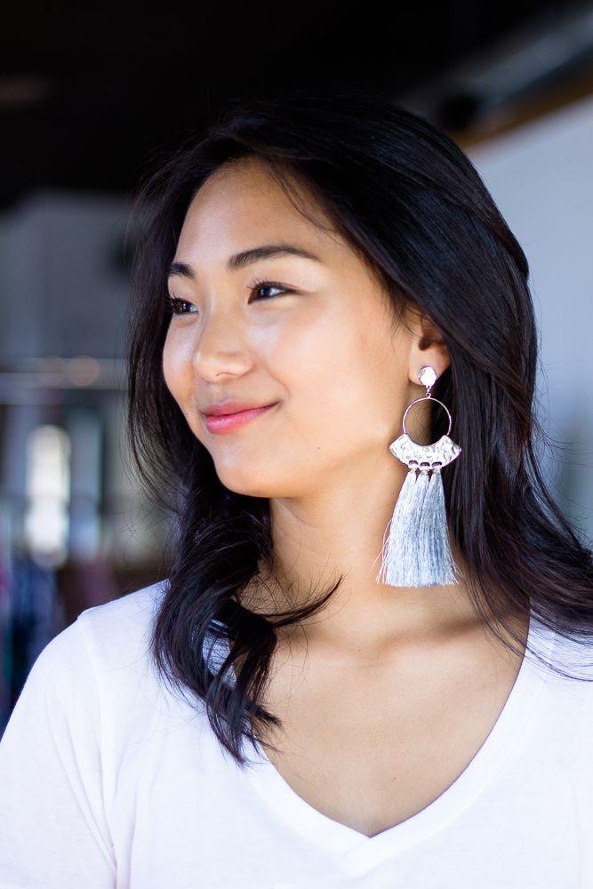 Tassel and Circle Earrings