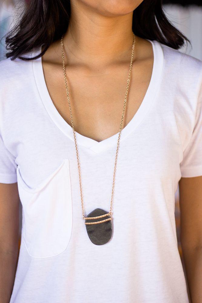 "Stone Pendant Necklace60"" long.Slip on design."