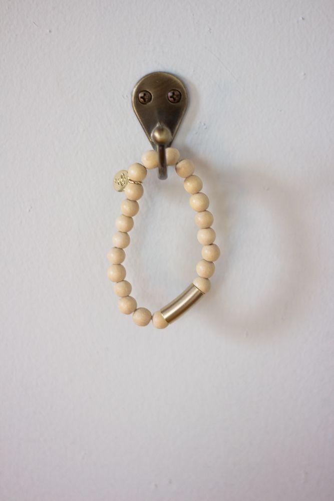 Metal Tube Wood Beads Stretch Bracelet