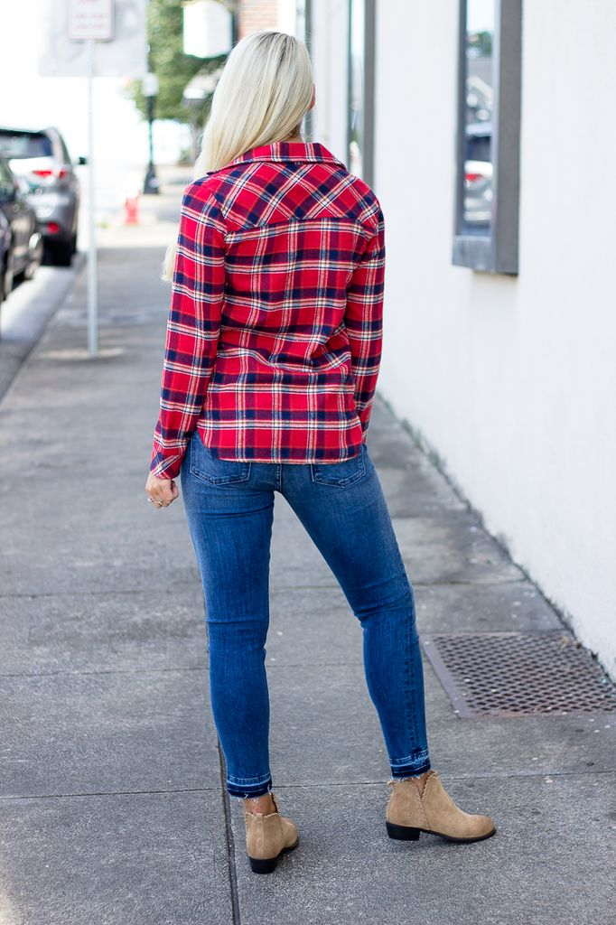 Glam Flannel Plaid Button Up Pocket Shirt