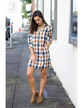 Glam Summer Checker Plaid Pocket Shirt Dress