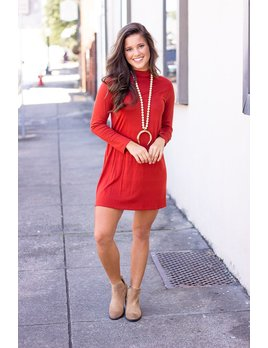 Solid Mock Neck Knit Dress