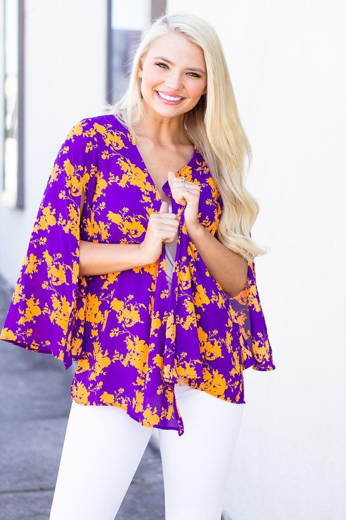 Abstract Floral Print Kimono