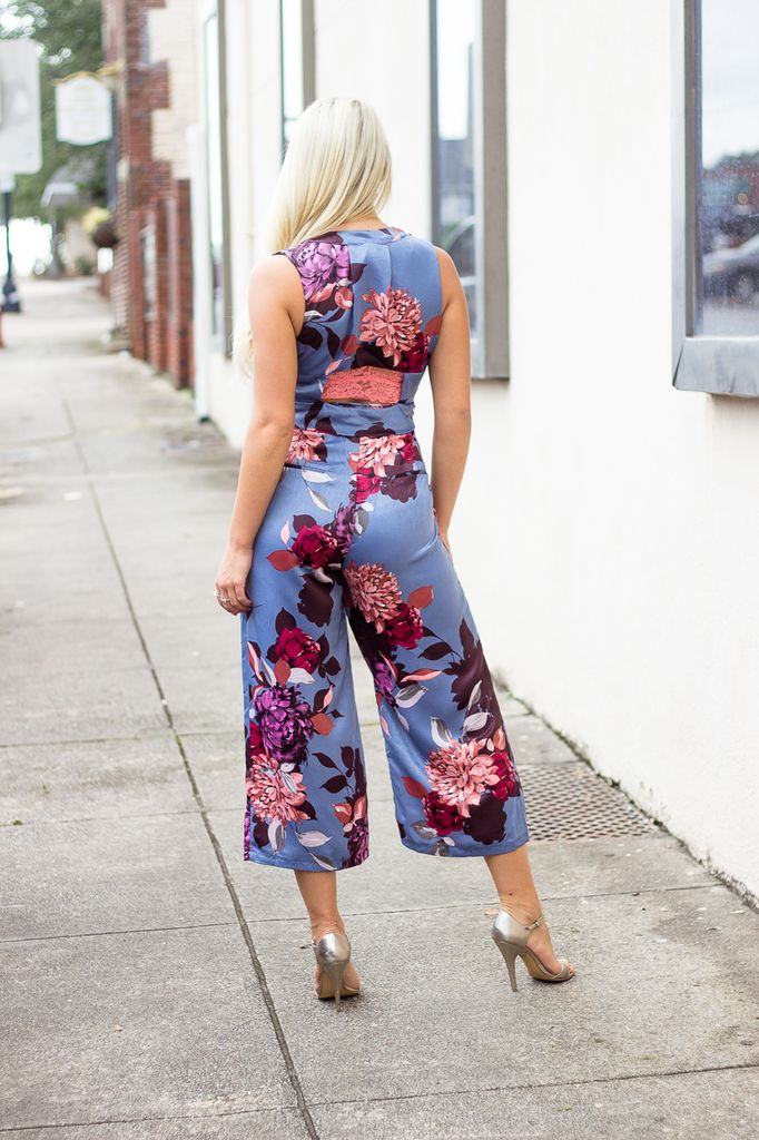 Karlie Floral V-Neck Satin Jumpsuit