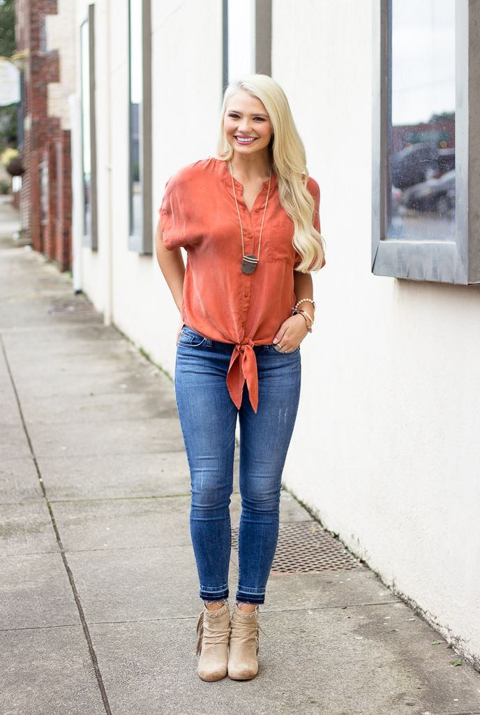 Karlie Solid Coupra Knot Front Blouse