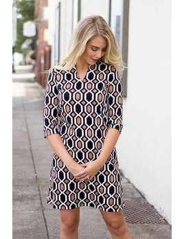 Onyx Printed Shift Dress