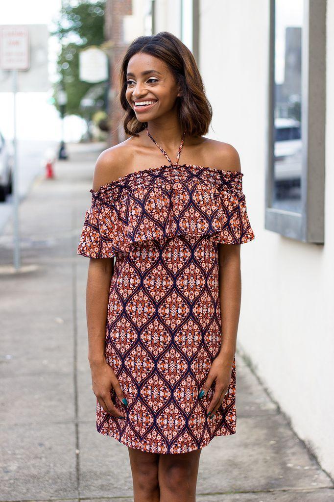 Off Shoulder Halter Dress