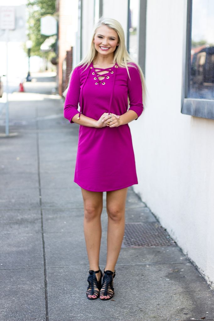 Shale Lace Up Shift Dress