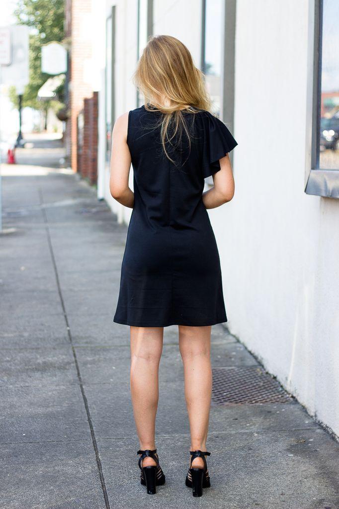 Citrine Single Ruffle Sleeve Dress