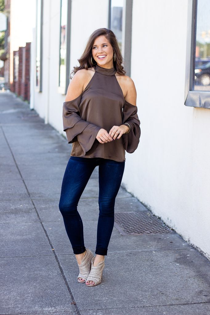 Karlie Solid Satin Cold Shoulder Ruffle Blouse