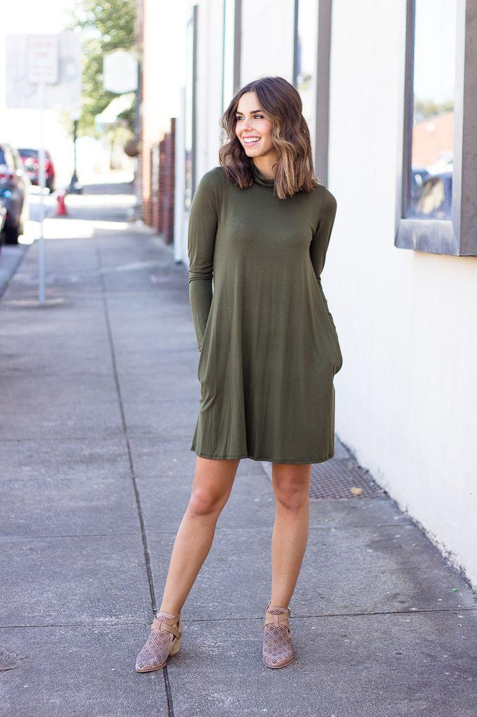Karlie Solid Mock Pocket Jersey Dress