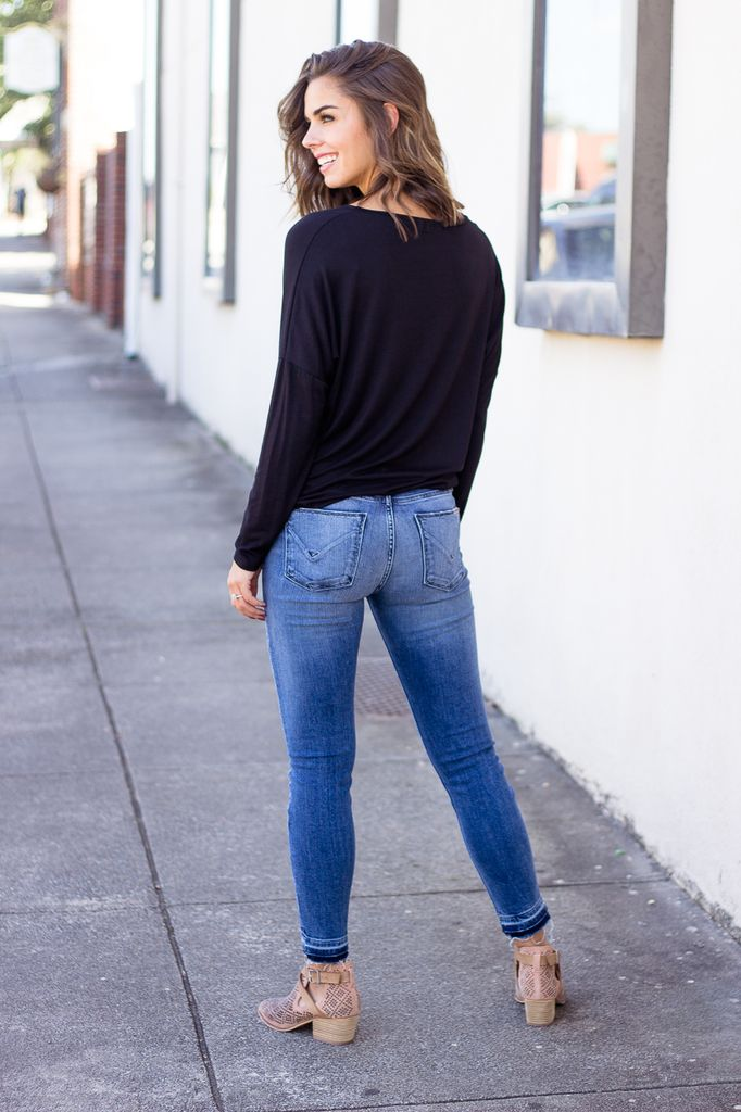 Karlie Solid Knit Knot Front Tee
