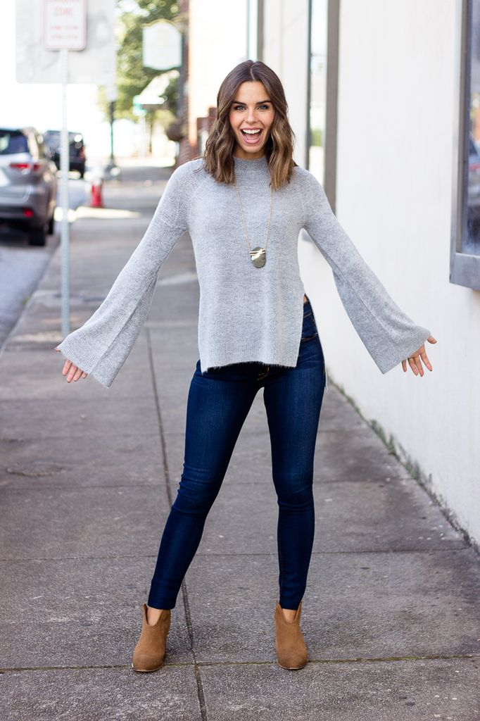 Karlie Solid Side Slit Sweater