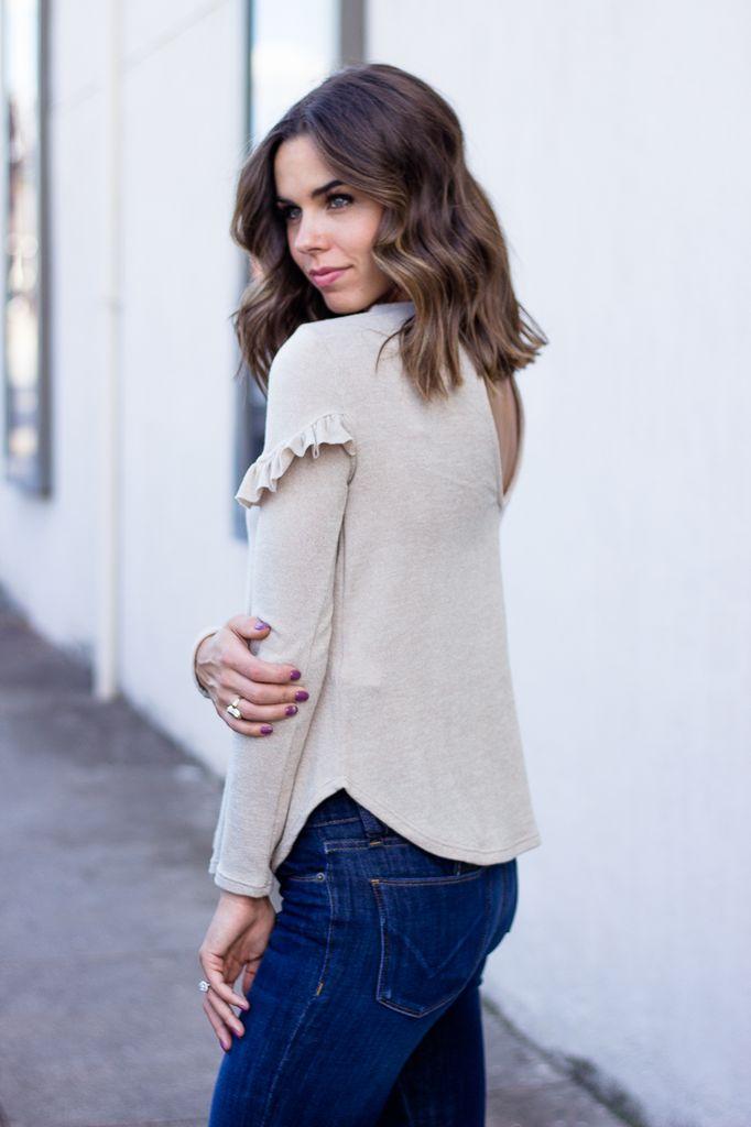 Karlie Ruffle Key Hole Back Sweater