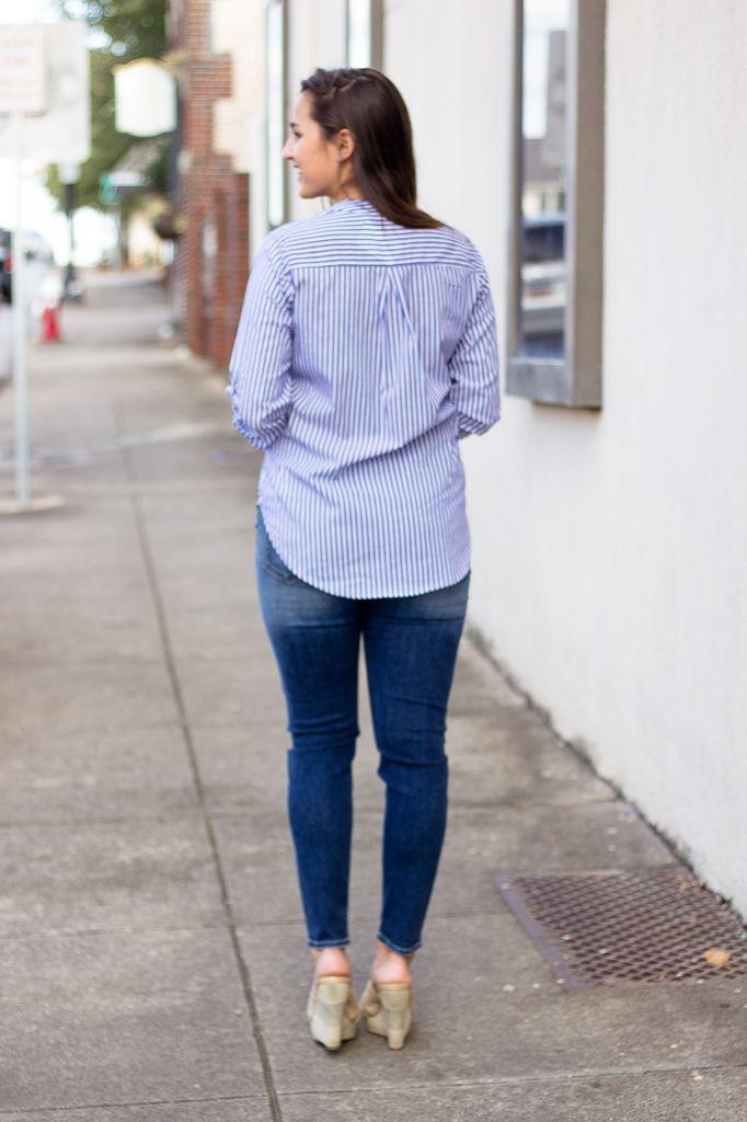 Karlie Karlie Stripe V-Neck Tab Sleeve Top