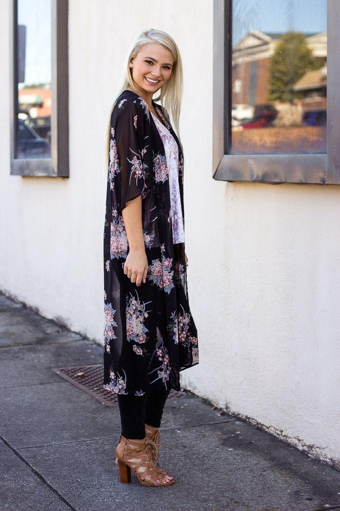 Karlie Chiffon Floral Oriental Duster