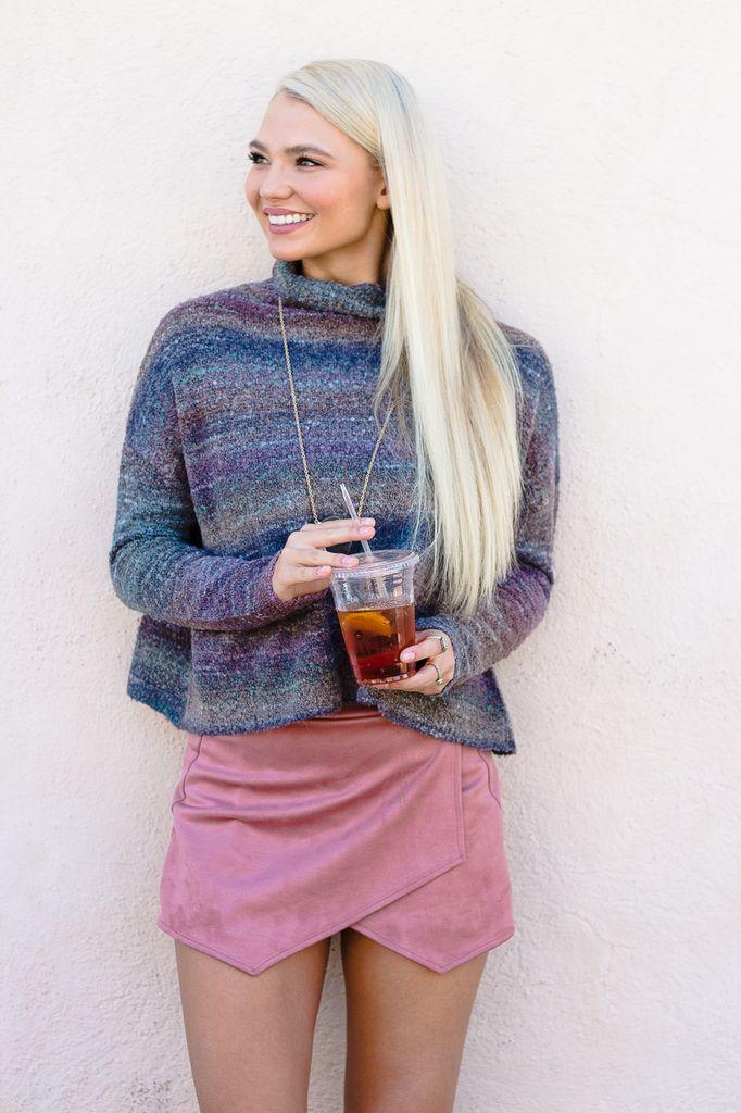 Karlie Dusty Stripe Mock Sweater