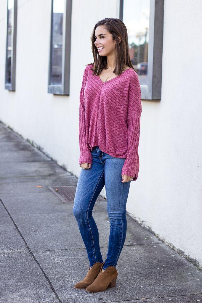 Karlie Solid Knit V-Neck Pocket Top