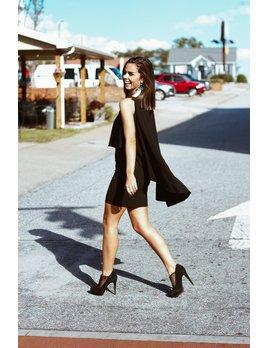 Karlie Solid Cold Shoulder Cape Dress
