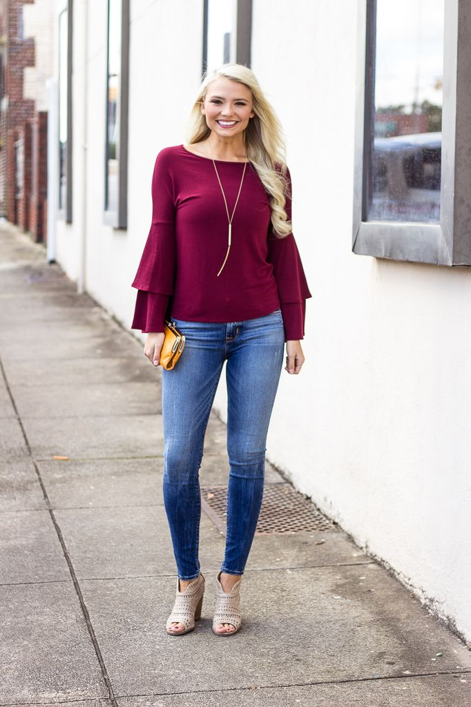 Karlie Solid Knit Ruffle Sleeve Top