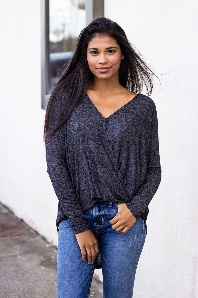 Karlie Heathered Wrap Front Blouse