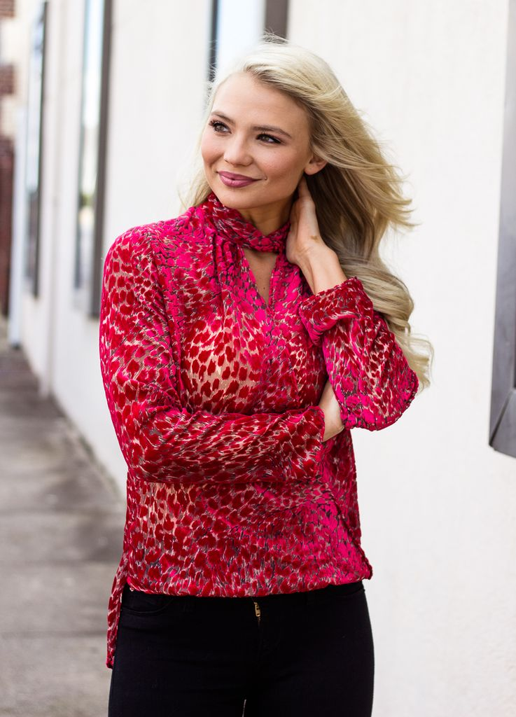 Karlie Velvet Leopard Wrap Mock Blouse
