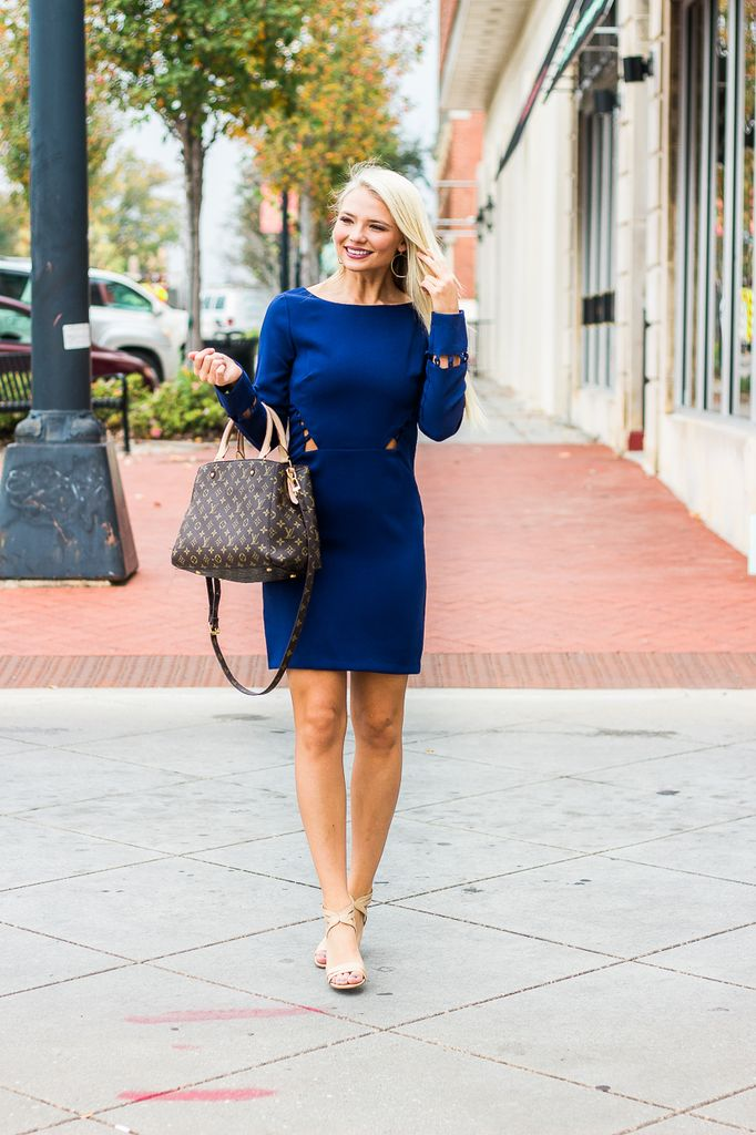 Karlie Solid Knot Cutout Long Sleeve Dress