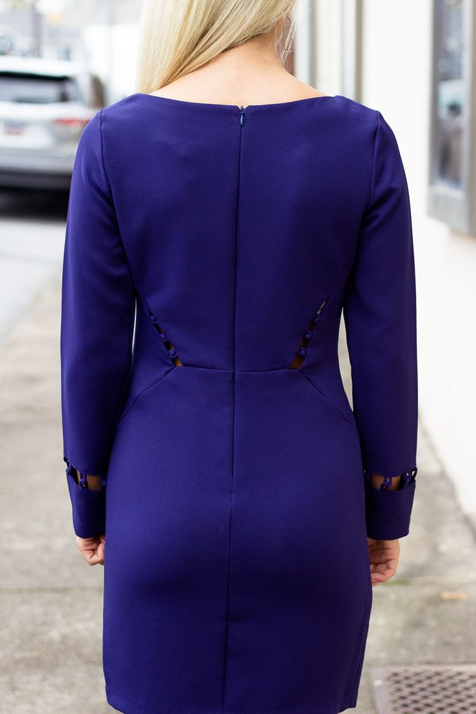 Karlie Solid Knot Cutout Long Sleeve Dress