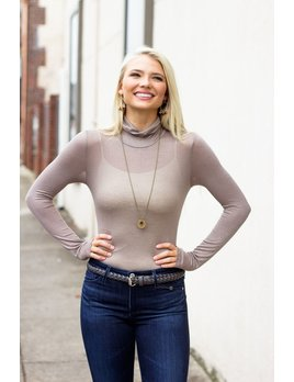Karlie Solid Knit Turtleneck Bodysuit