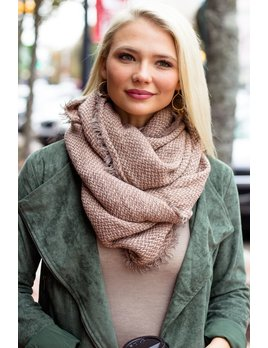 Textured Knit Infinity Scarf with Frayed Edge