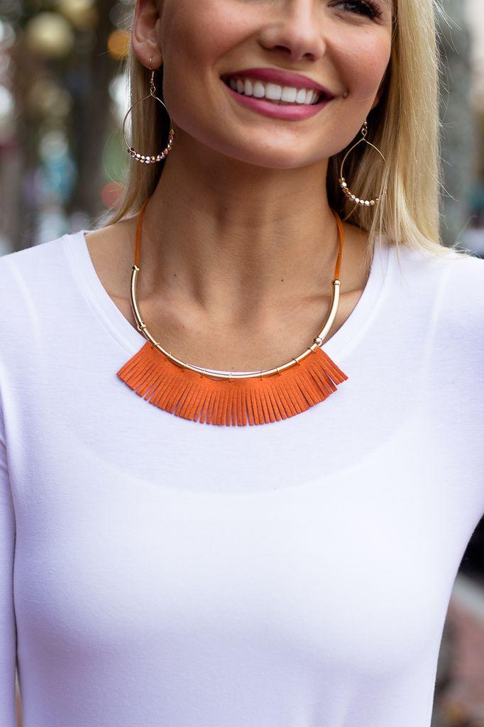 Curved Bar Fringe Necklace