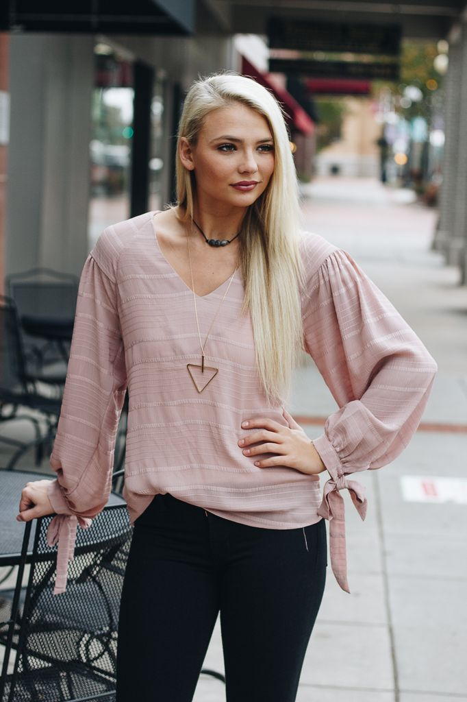 Karlie Solid Novelty Fabric Blouse