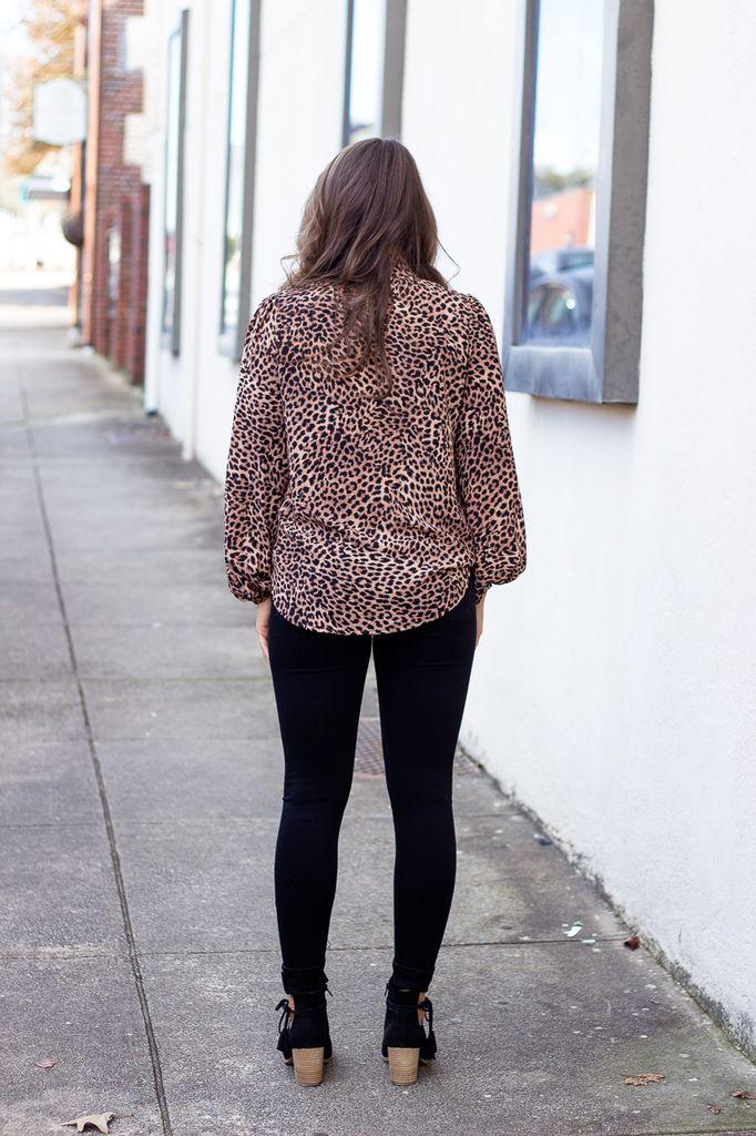 Karlie Leopard Choker Neck Blouse