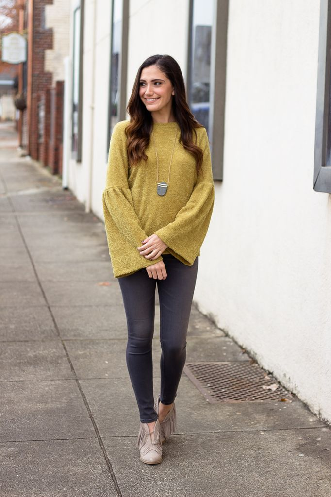 Karlie Solid French Terry Funnel Sleeve Sweater