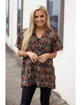 Karlie Multi Embroidered Velvet V-Neck Tunic