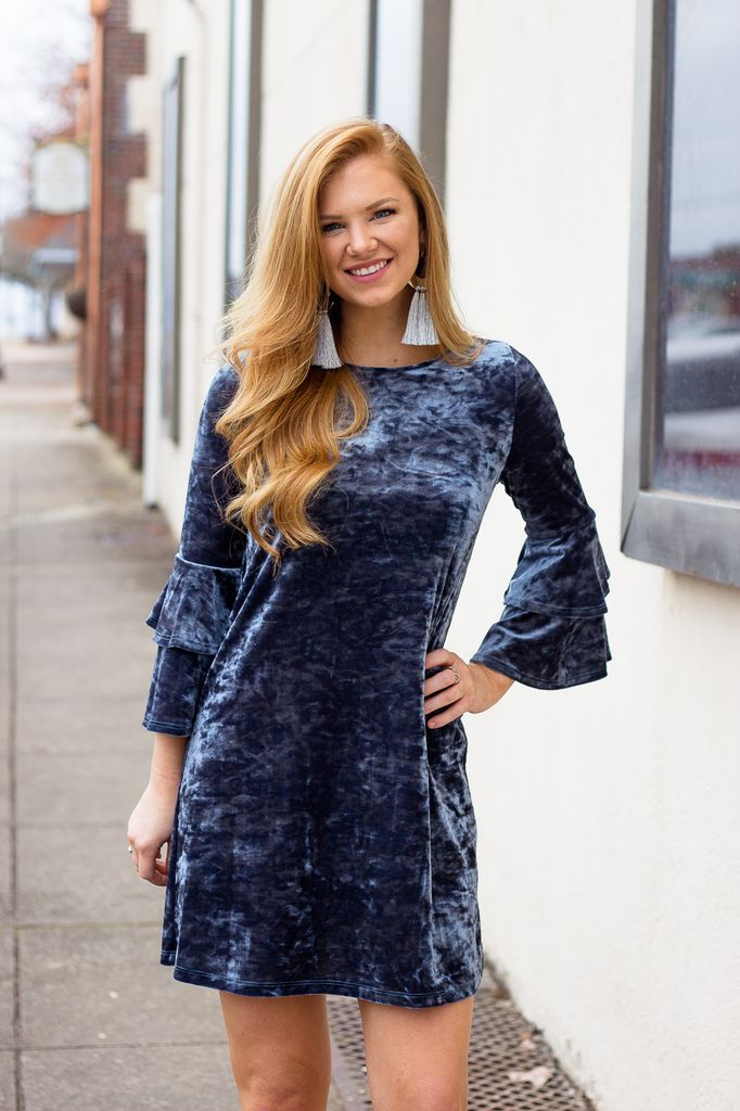 Karlie Velvet Tier Sleeve Dress