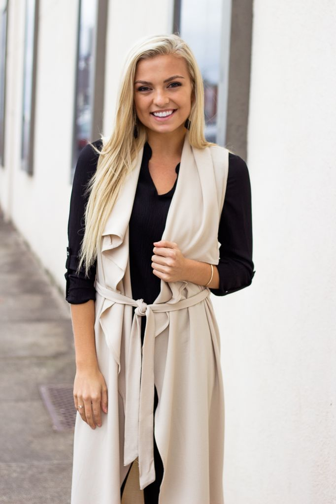 She & Sky Trench Coat Duster with Waist Tie