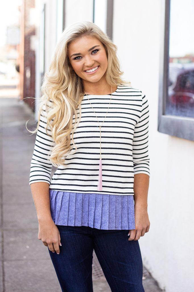 THML Stripe Sweater with Ruffle Denim Detail