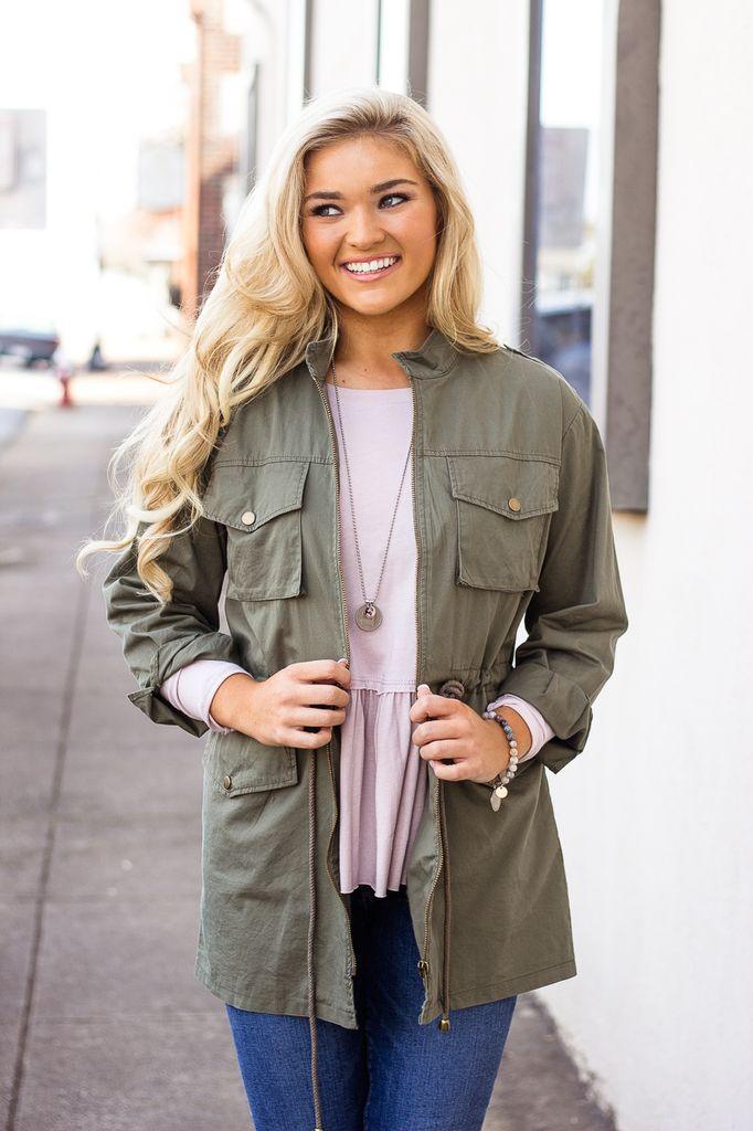 She & Sky Military Jacket with Drawstring Waist