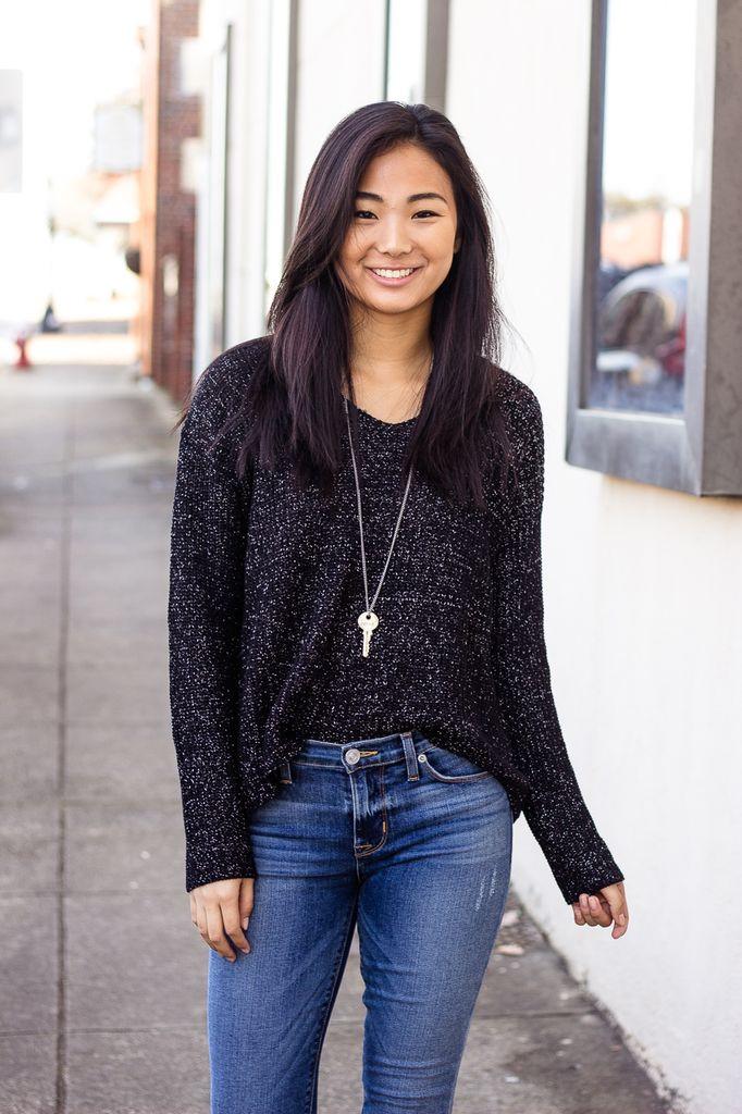 She & Sky Metallic Yarn Detail Sweater