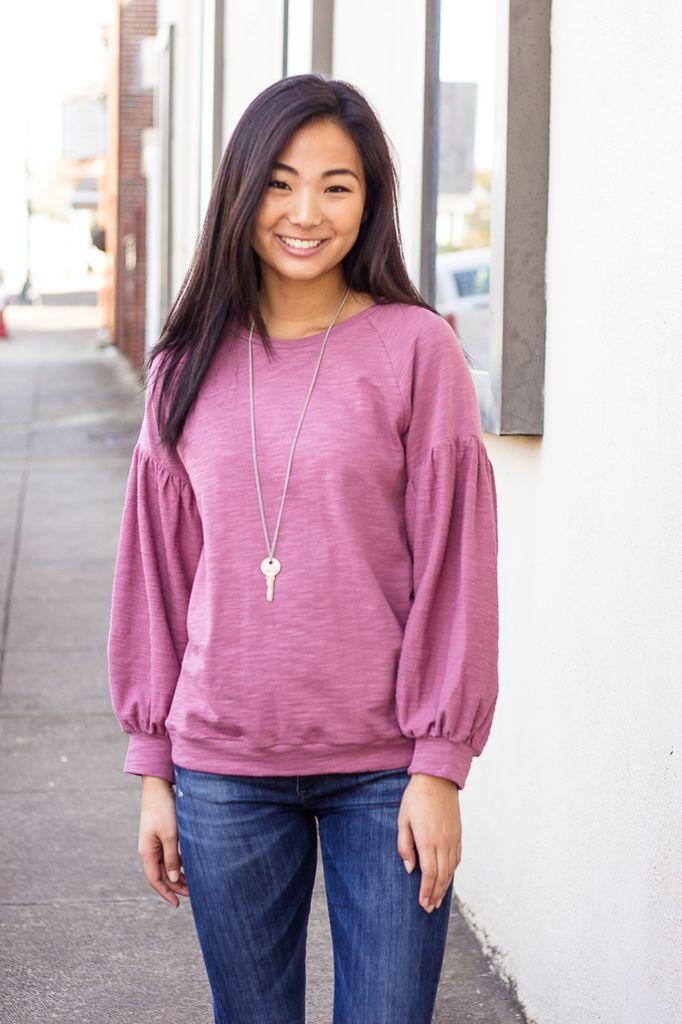 She & Sky Balloon Sleeve Sweatshirt
