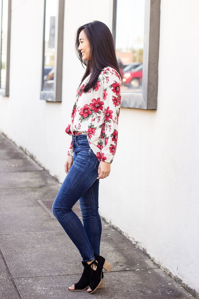 Choker Neck Floral Print Top