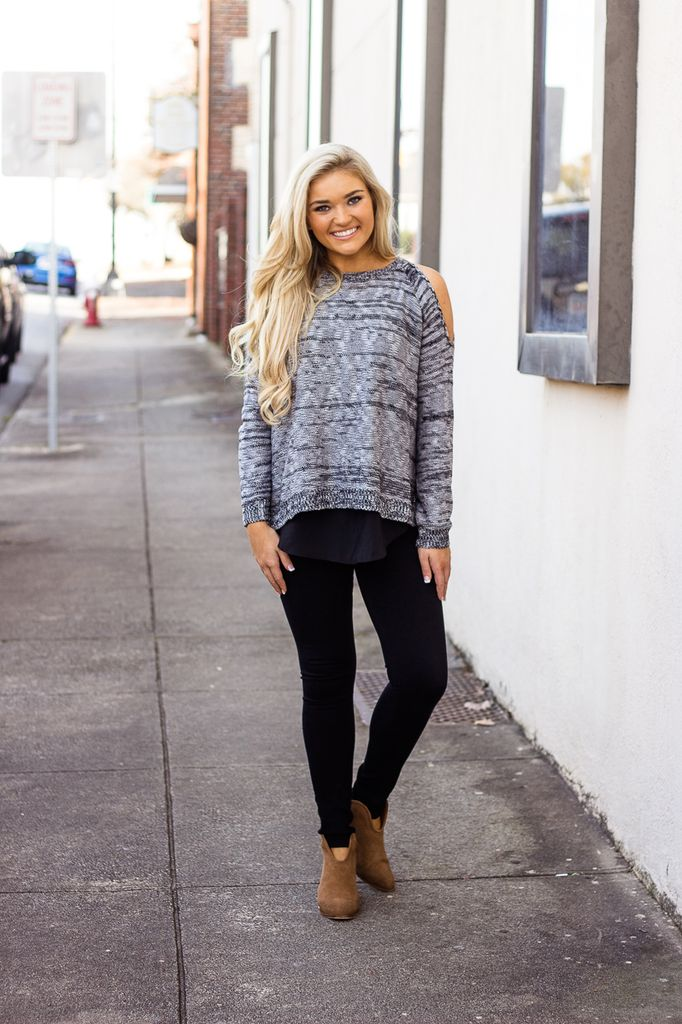 She & Sky Cold Shoulder Sweater with Layered Chiffon Contrast